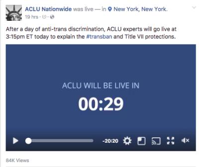 ACLU, live video, facebook live