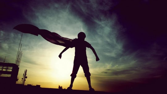 superhero, cape, sunset