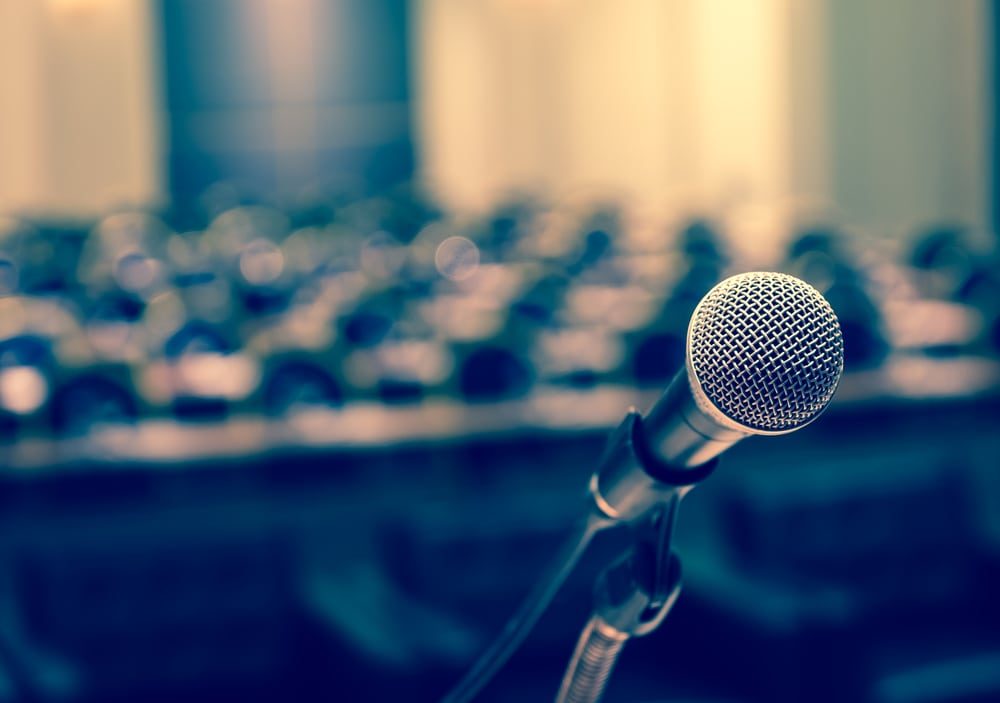 microphone, conference hall