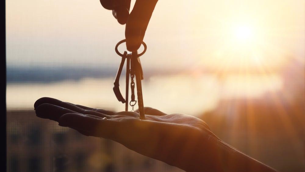 keys, sunset background