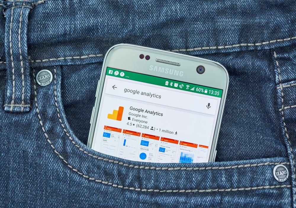 google analytics on a mobile device, back pocket