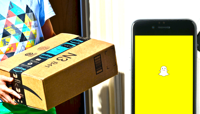 snapchat screen and amazon delivery