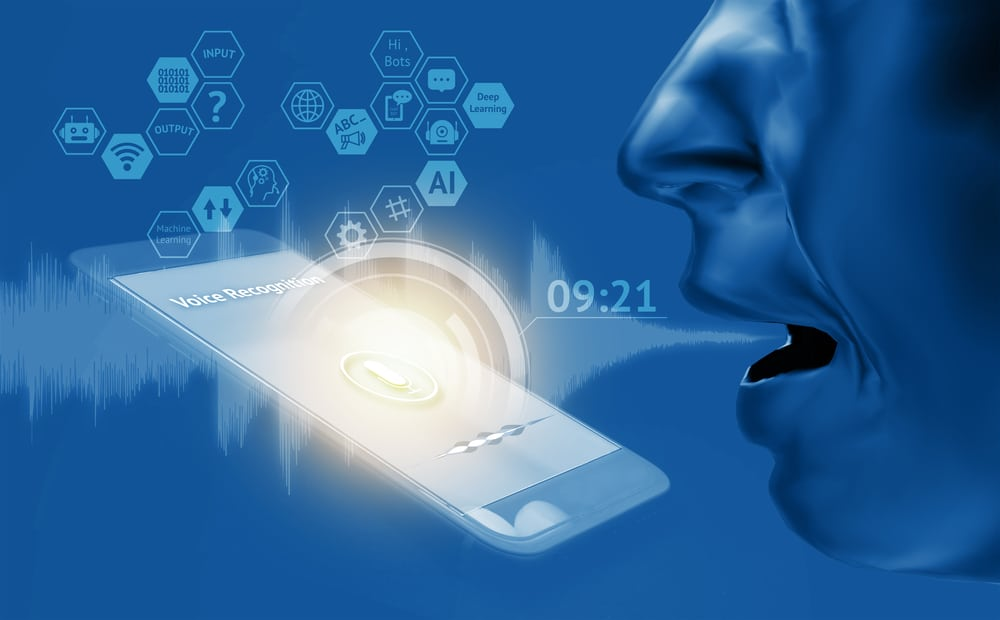 voice to speech image, person speaking into smartphone, AI graphics