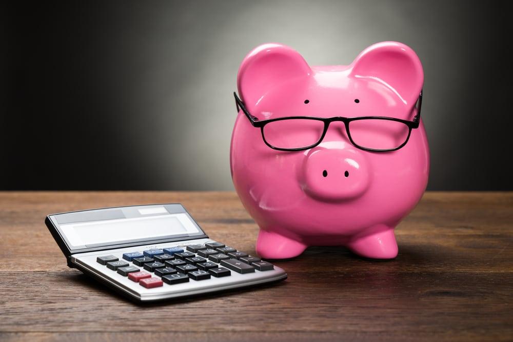 piggy bank and calculator
