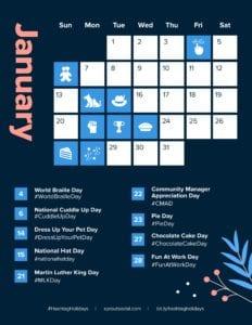 hashtag calendar January