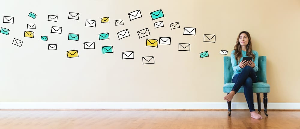 woman sending lots of emails