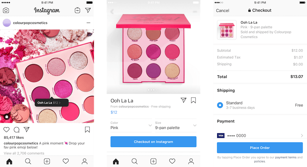 screenshots of checkout on instagram
