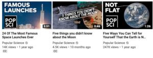 popscience, youtube