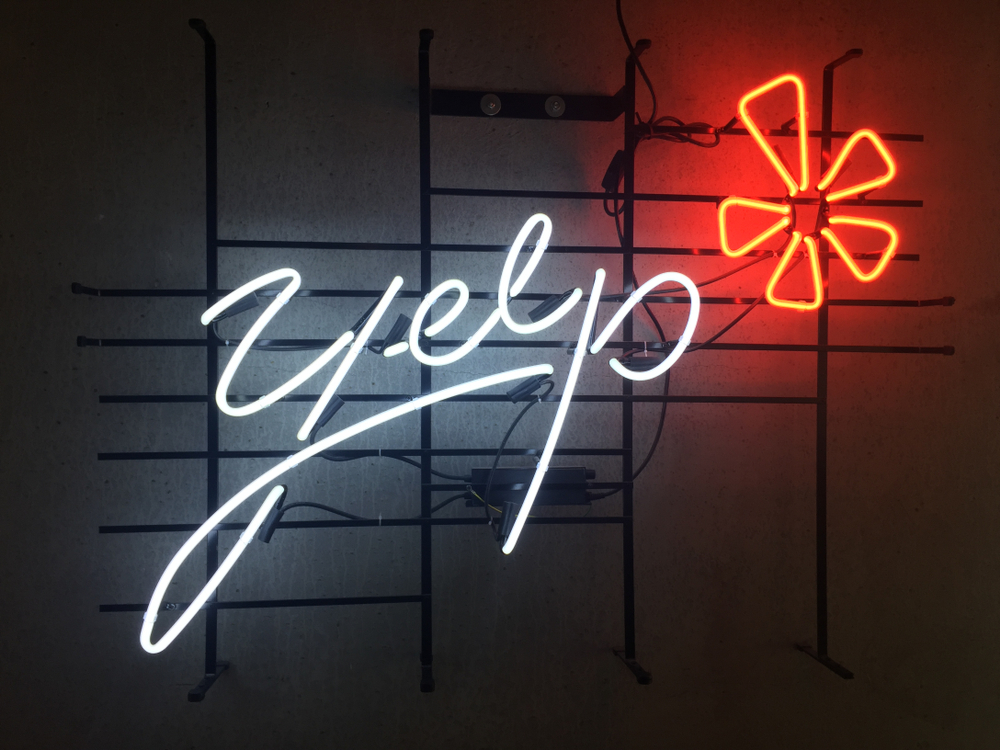 yelp logo in neon