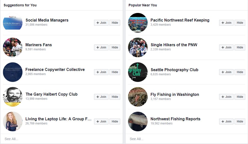 facebook, groups, discover