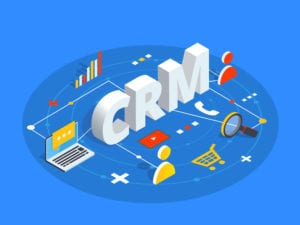 graphic of CRM with customers, numbers, shopping cart