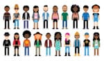 cartoon of diverse characters making up Gen Z