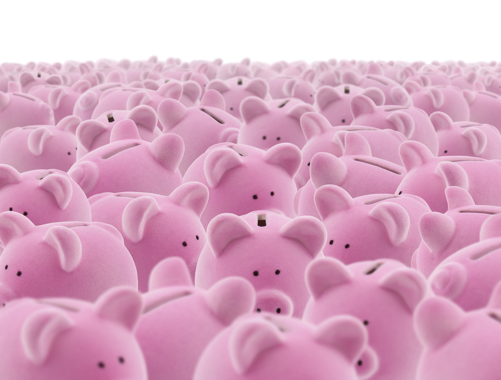 a sea of piggy banks, representing budgeting as an overwhelming task