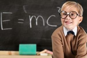 smart kid in glasses