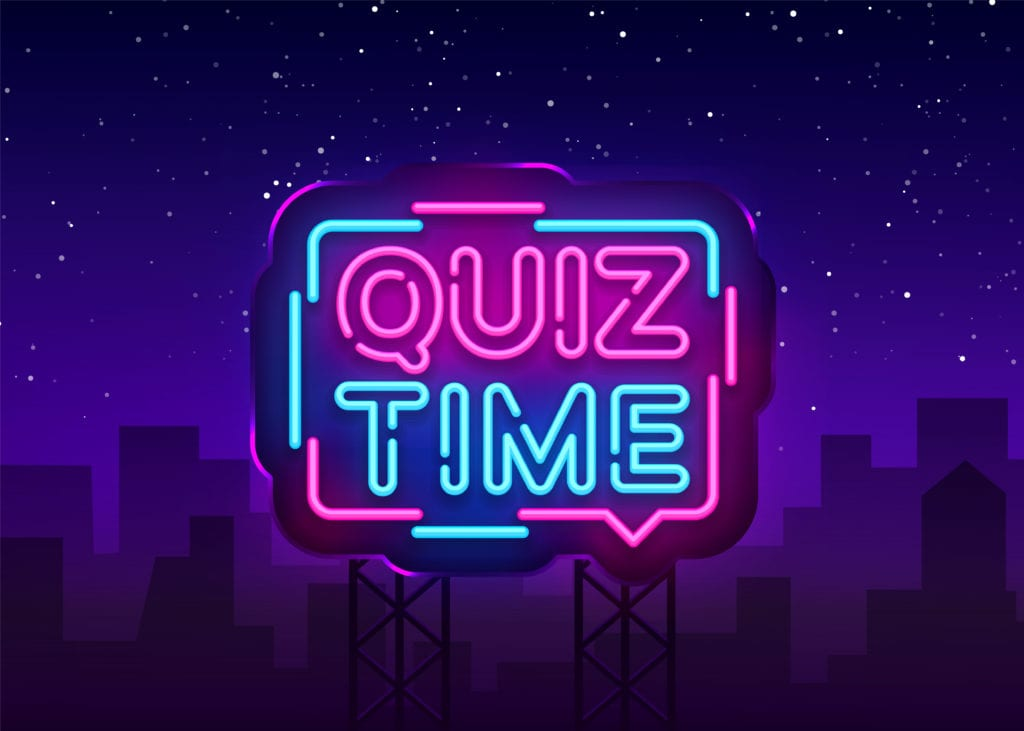 """quiz time"" in neon letters"