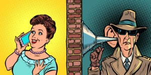comic art of spy wiretapping a woman on the phone