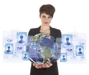 woman holding globe with icons representing sales prospects