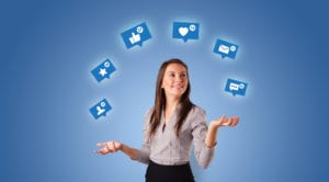 woman juggling social media icons