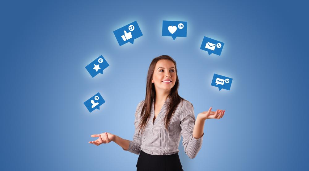 woman juggling social media icons
