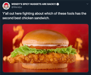 wendy's tweet from chicken wars