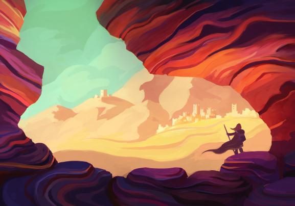 hero in fantasy landscape