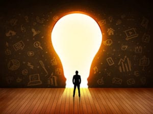 man in lightbulb representing thought leader