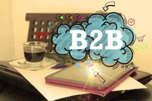 B2B logo on desk