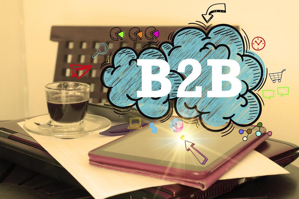 B2B logo on desk