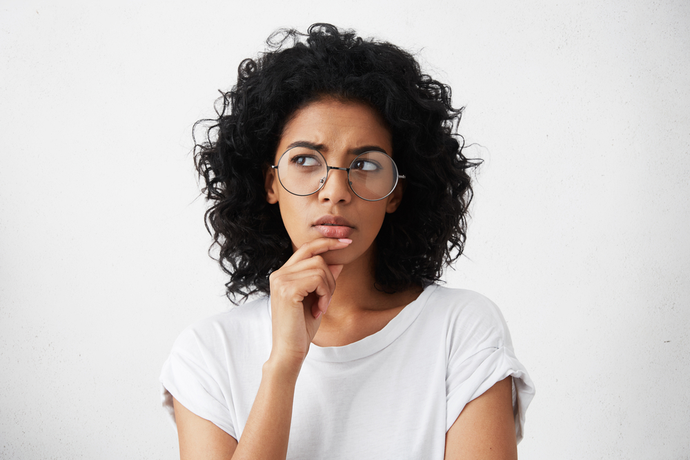 woman with wondering expression
