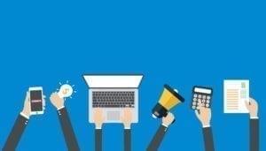 laptop, calculator, amplifier, socialmarketers toolset