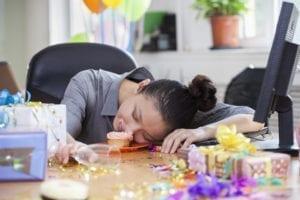 woman sugar rush at work