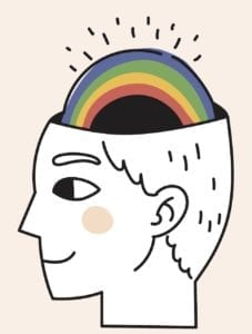 happy brain with rainbow