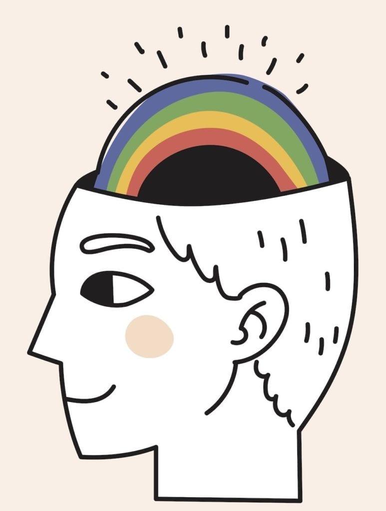 happy brain with rainbow