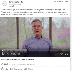 simmons foods ceo statement on linkedin