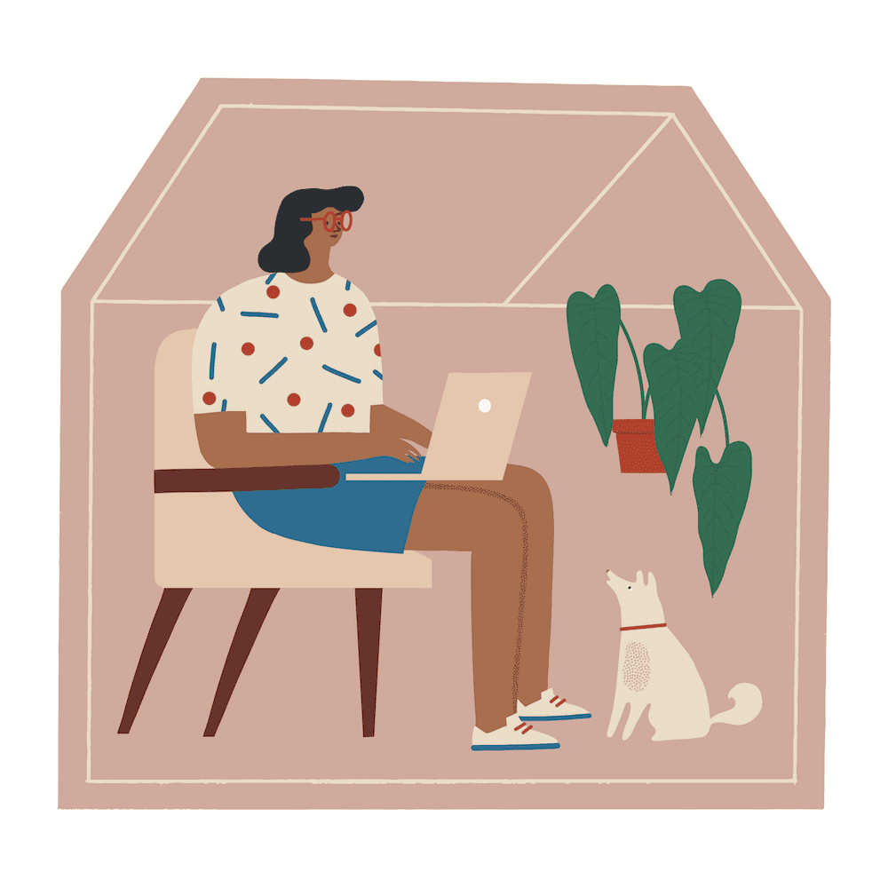 woman working from home w dog