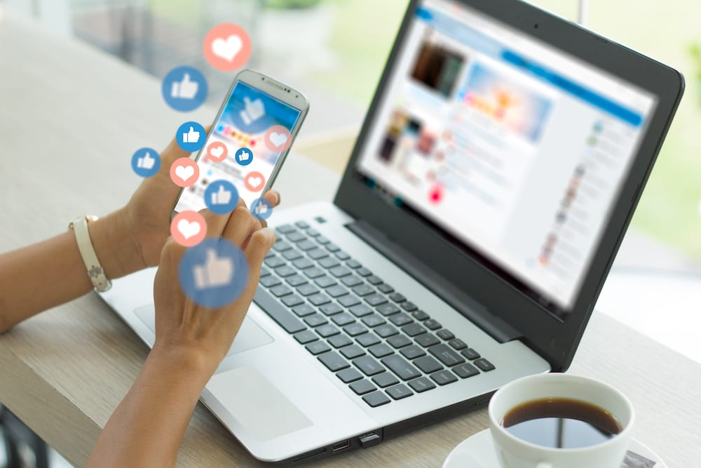 social media app on mobile and desktop